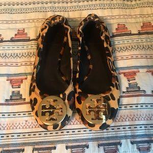 Tory Burch Leopard Calfskin Flats